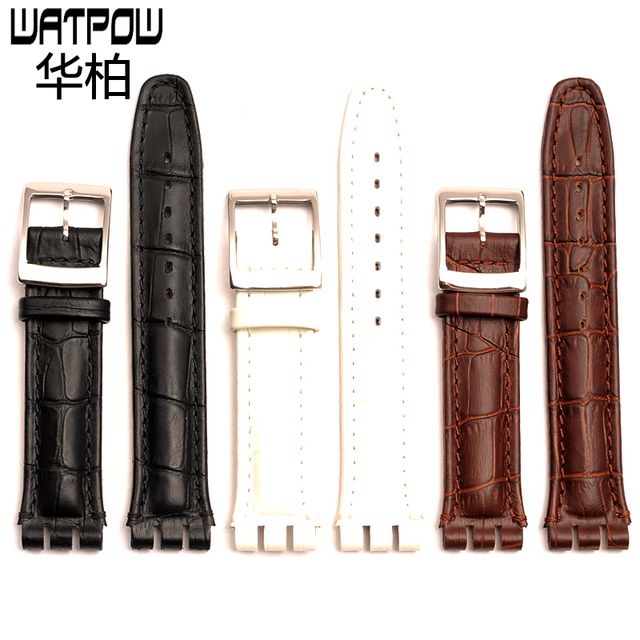 1e3b20e39f0c € 13.94 10% de DESCUENTO|Correa de reloj de cuero de alta calidad 17mm 19mm  21mm 23mm blanco negro marrón para swatch correa de accesorios en ...
