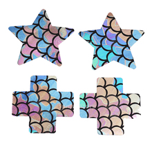 4 Pieces Ladies Mermaid Nipple Cover Cross Adhesive Breast Stickers Bra Pads Petals Patch Disposable 8 x 8cm
