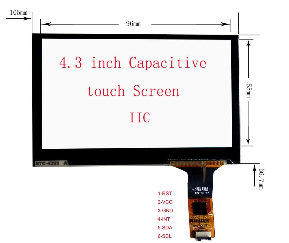 Bilgisayar ve Ofis'ten Tablet LCD'ler ve Paneller'de 4.3 inç IIC GT911 Dokunmatik Ekran DIY Monitör Için 96*55mm USB denetleyici Kurulu Desteği WIN8 10 Android linux