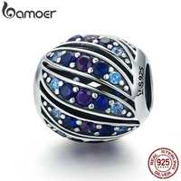 BAMOER Real 100% 925 Sterling Silver Peacock Feather Blue Crystal CZ Charm Beads fit Charm Bracelet DIY Jewelry Making SCC472