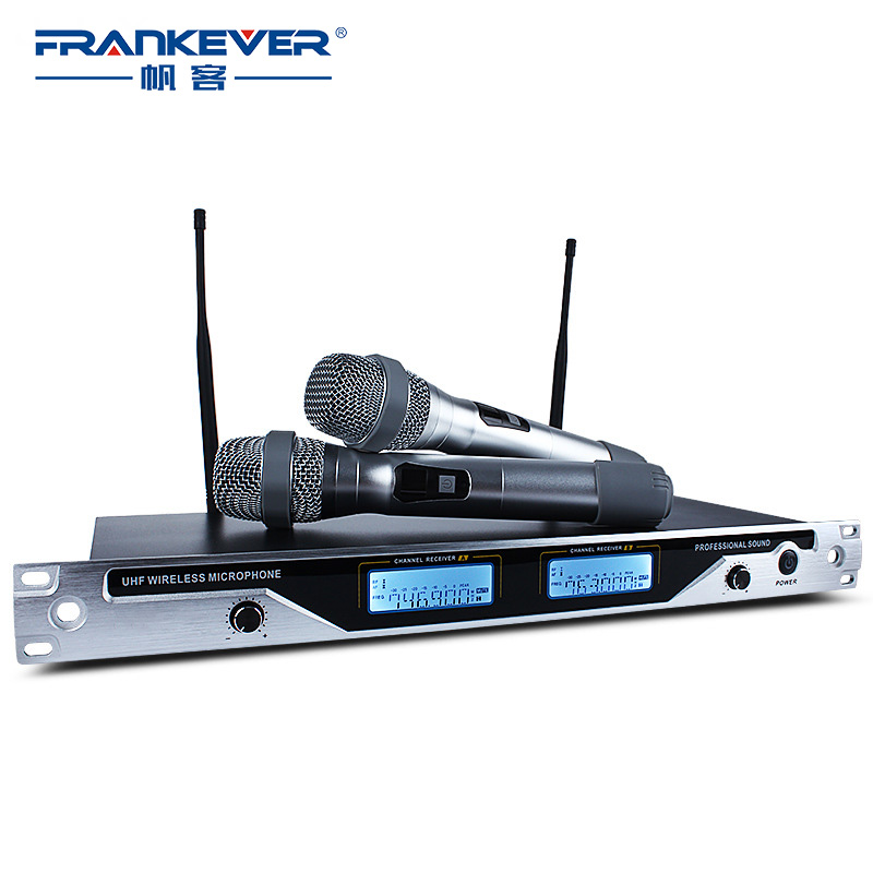 FrankEver Professional Dual Omni-directional UHF Wireless Handheld Microphone System for Stage Karaoke professional directional stereo microphone 1 x cr2