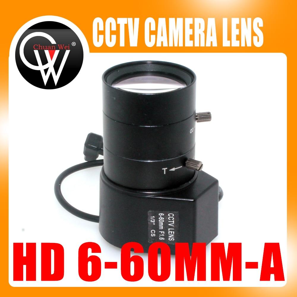 HD 1/3 6-60mm F1.6 CS Mount DC Auto Iris Varifocal IR CCTV Lens for Box Body Camera 8mm 12mm 16mm cctv ir cs metal lens for cctv video cameras support cs mount 1 3 format f1 2 fixed iris manual focus