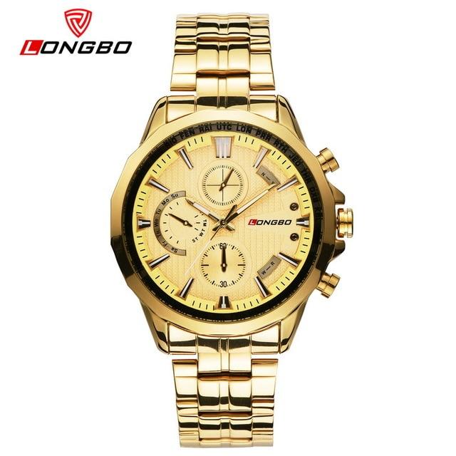LONGBO Top Brand Luxury Men Casual Military Quartz Sports Wrist Watch Dial Clock Stainless Steel Hodinky Relogio Masculino Gift