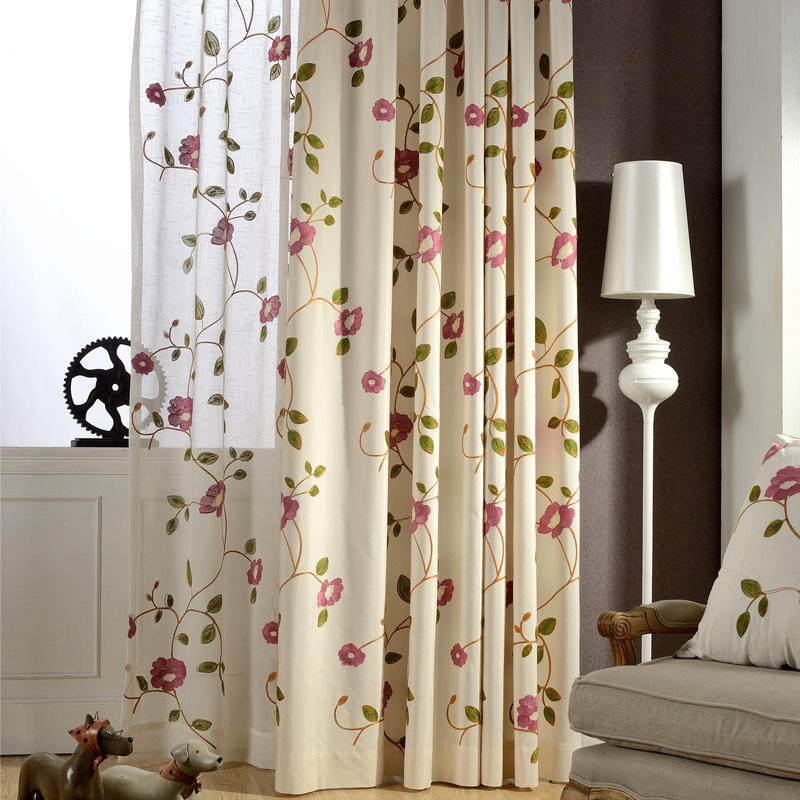 Floral Embroidered Curtains Pastoral Countryside Rural Living Room Bedroom Delicate Sheer Voile Window Drapes Gauze WP106C