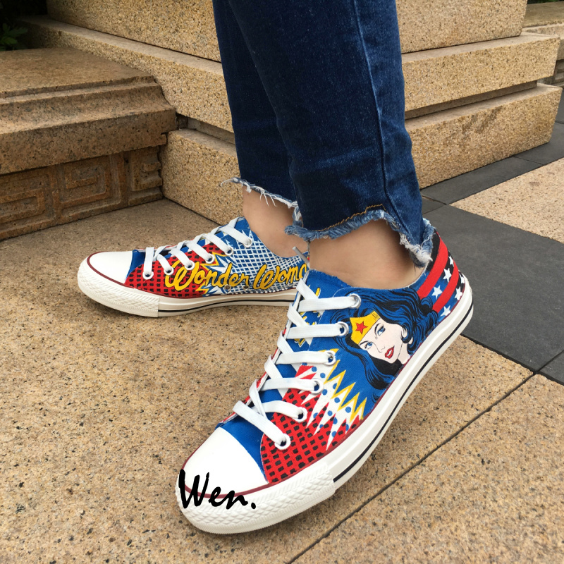 Wen Hot Sale Hand Painted Shoes Design Custom Low Top Wonder Woman Boys Girls High Top Canvas Sneakers for Men Women's Gifts wen mexican style skulls totem original design hand painted shoes for men woman slip ons custom canvas sneakers