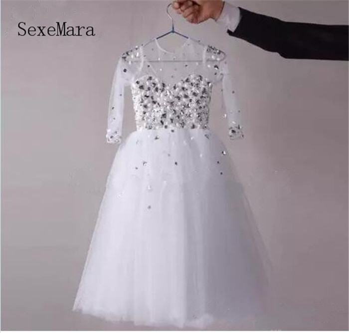 Real Picture White First Communion Dresses Vestidos De Ball Gown Beading Crystal Long Sleeve Flower Girls Dress Pageant Gown by megyn designer maxi dresses high quality women long sleeve crystal beading print vintage evening party long dresses vestidos