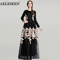 Women Long Dresses Spring 2018 Full Sleeve Elegant Appliques Fashion High Street Ball Gown Elegant Maxi New Dress