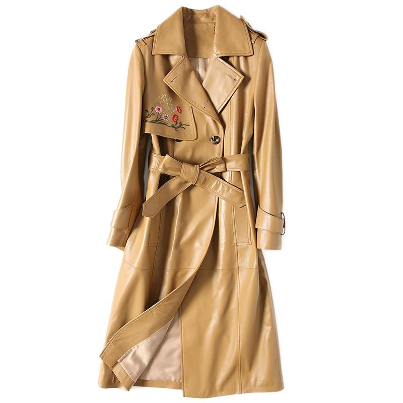 Automne Hiver Veste Femmes Vêtements 2018 Véritable Veste En Cuir Femmes en peau de Mouton Manteau Coréen Élégant Slim Fit Tranchée Manteau ZT539