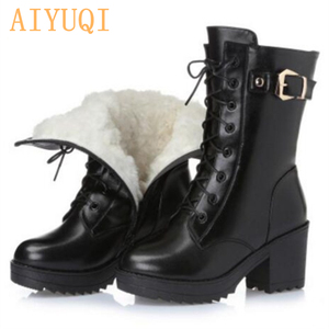 Image 4 - High heeled genuine leather women winter boots thick wool warm women Military boots high quality female snow boots K25