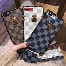 Stylish Luxury phone Case For iPhone 7 6S 8 Plus 7 8 X 10 Square Coque Vintage Plaid Pattern leather lanyard Cover All-inclusive