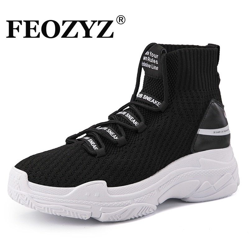 Feozyz Shark Sneakers Women Men Knit Upper Breathable Sport Shoes