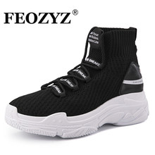 FEOZYZ Shark Sneakers Women Men Knit Upper Breathable Sport Shoes Chunky Shoes High Top Running Shoes For Men Women(China)
