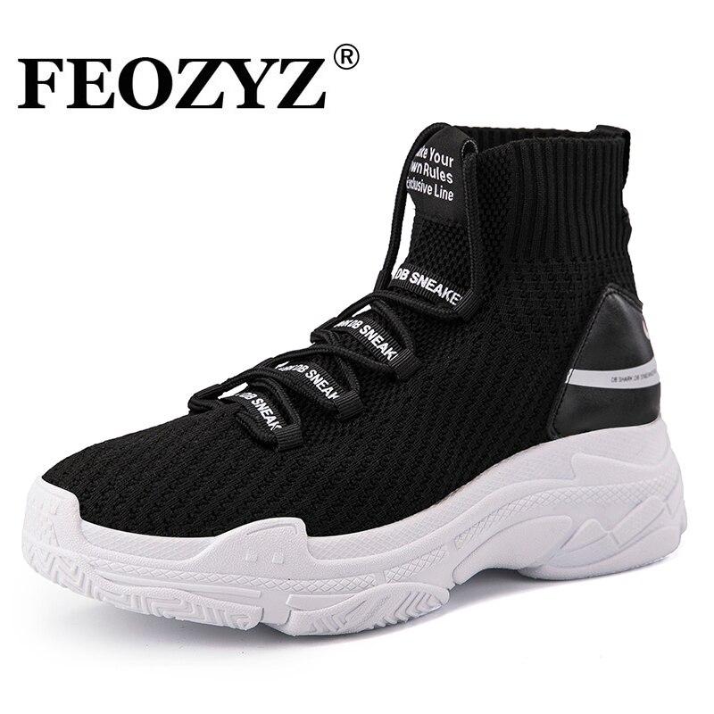 FEOZYZ Shark Sneakers mujeres hombres Knit superior transpirable Deporte Zapatos gruesos Zapatos altos zapatillas para hombres mujeres