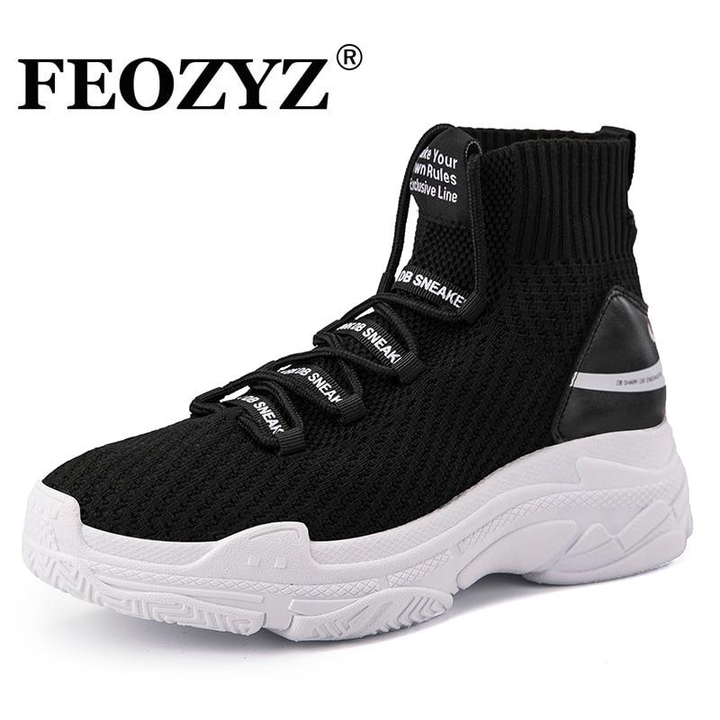 FEOZYZ tiburón zapatillas mujeres hombres Knit superior transpirable Deporte Zapatos gruesos de alta Top zapatillas para hombres mujeres