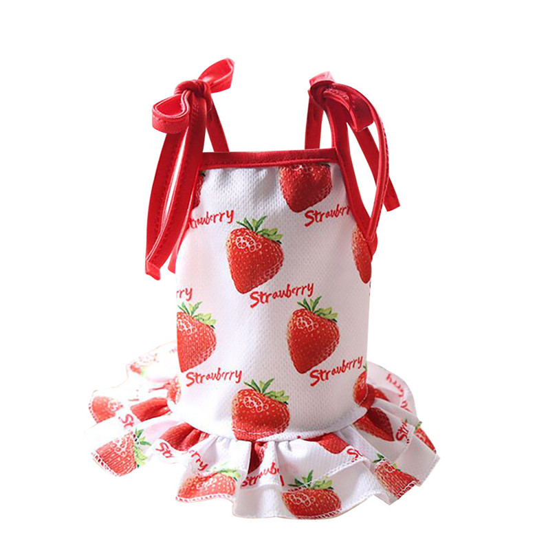 Pet Dogs Dress Breathable Polyester Fruit Print Pet Couples Dress Puppy Dog Princess Lovely Strawberry Pineapple Dress (6)