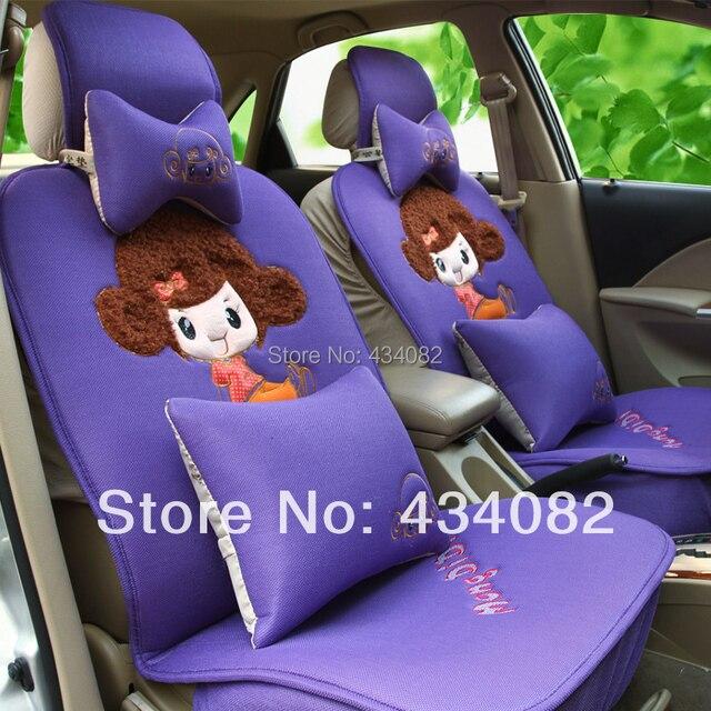 Fedex Or EMS Price 12pcs Cartoon Cut Pretty Girls Woman Car Seat Covers Set Summer