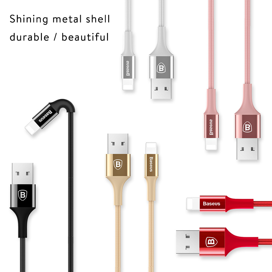 Baseus Shining Cable With Jet Metal For Iphone 5 6 7 8 Music Series Audio Black X