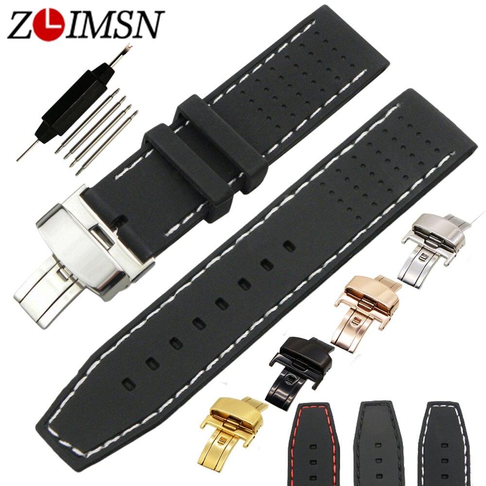 ZLIMSN 22mm Sport Wasserdicht Silikon Gummi Armband Schmetterling - Uhrenzubehör - Foto 1