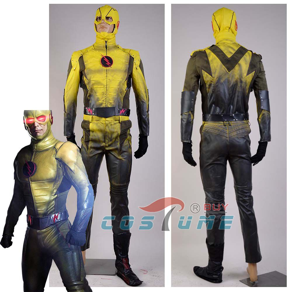 Reverse-<font><b>Flash</b></font> Reverse <font><b>Flash</b></font> Costume Professor Zoom Eobard Thawn <font><b>Cosplay</b></font> Costumes <font><b>With</b></font> Mask <font><b>Boot</b></font> Covers Men Halloween image
