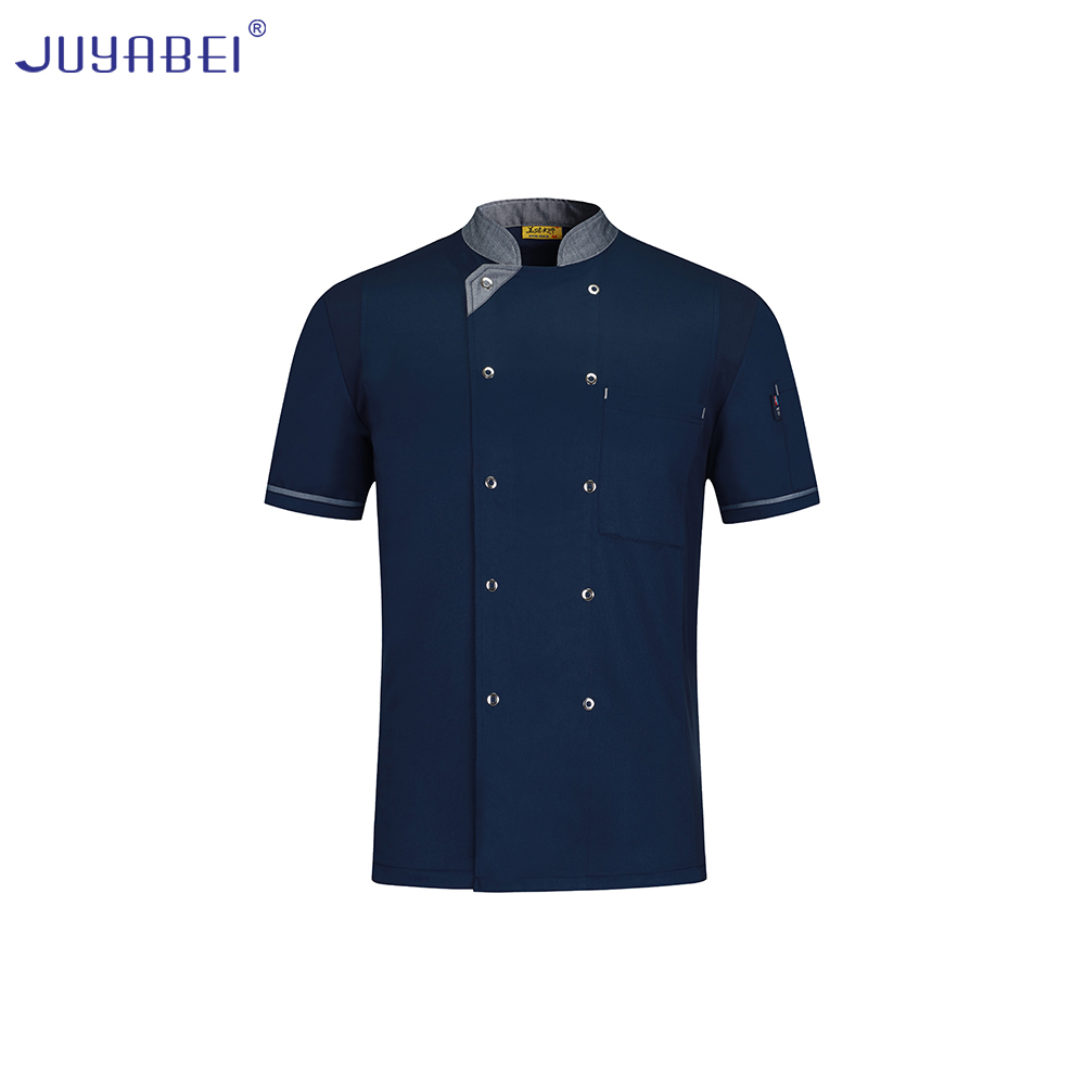 2019 Summer New High Quality Short Sleeve Uniform Men's Restaurant Kitchen Chef Service Food Service Hotel Men's Chef Jacket