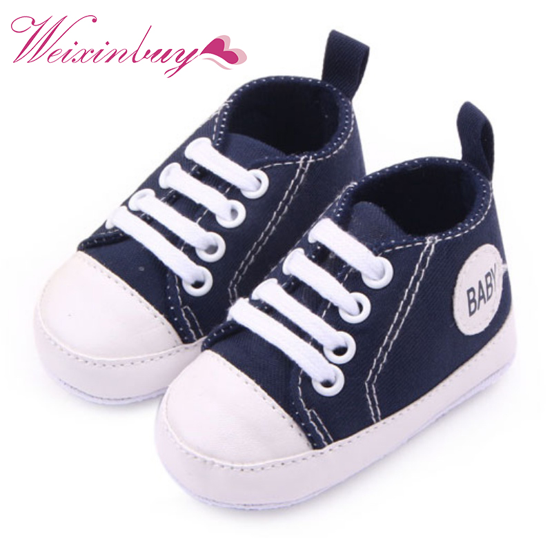 WEIXINBUY Infant Toddler Canvas Sneakers Kids Baby Boy Girl Soft Sole Crib Shoes First Walkers 0-12M bbay slip on first walkers newborn toddler canvas sneakers baby boy girl soft sole crib shoes first walkers
