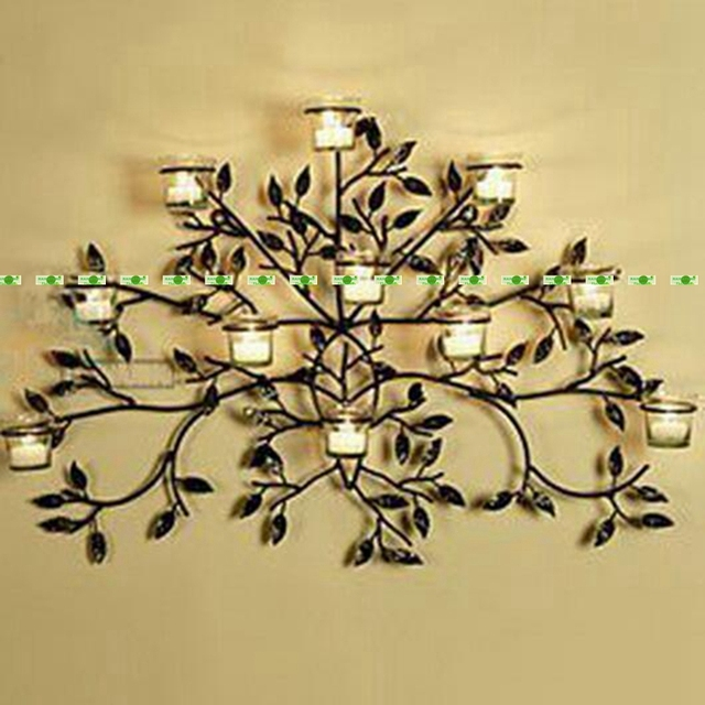 75cm Metal Wedding Home Office Furniture Decor Wall Mount ... on Metal Candle Holders For Wall id=49051