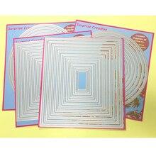 4-Set большие режущие штампы пирсинг Прямоугольник квадратный круг Овальный кардмейкинг и Скрапбукинг DIY трафарет