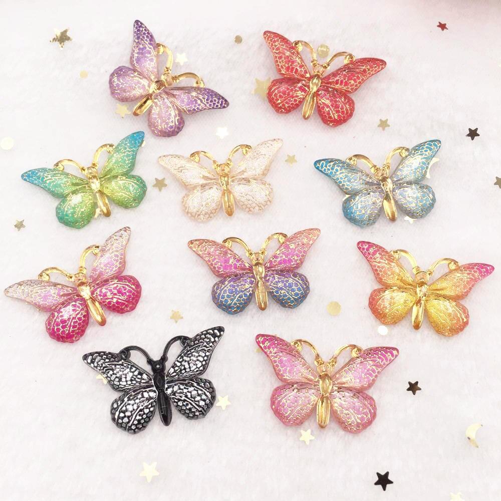 Nouveau 10 pièces résine 25*38mm Bling coloré papillons flatback strass 1 trou ornements bricolage mariage appliques artisanat SW75