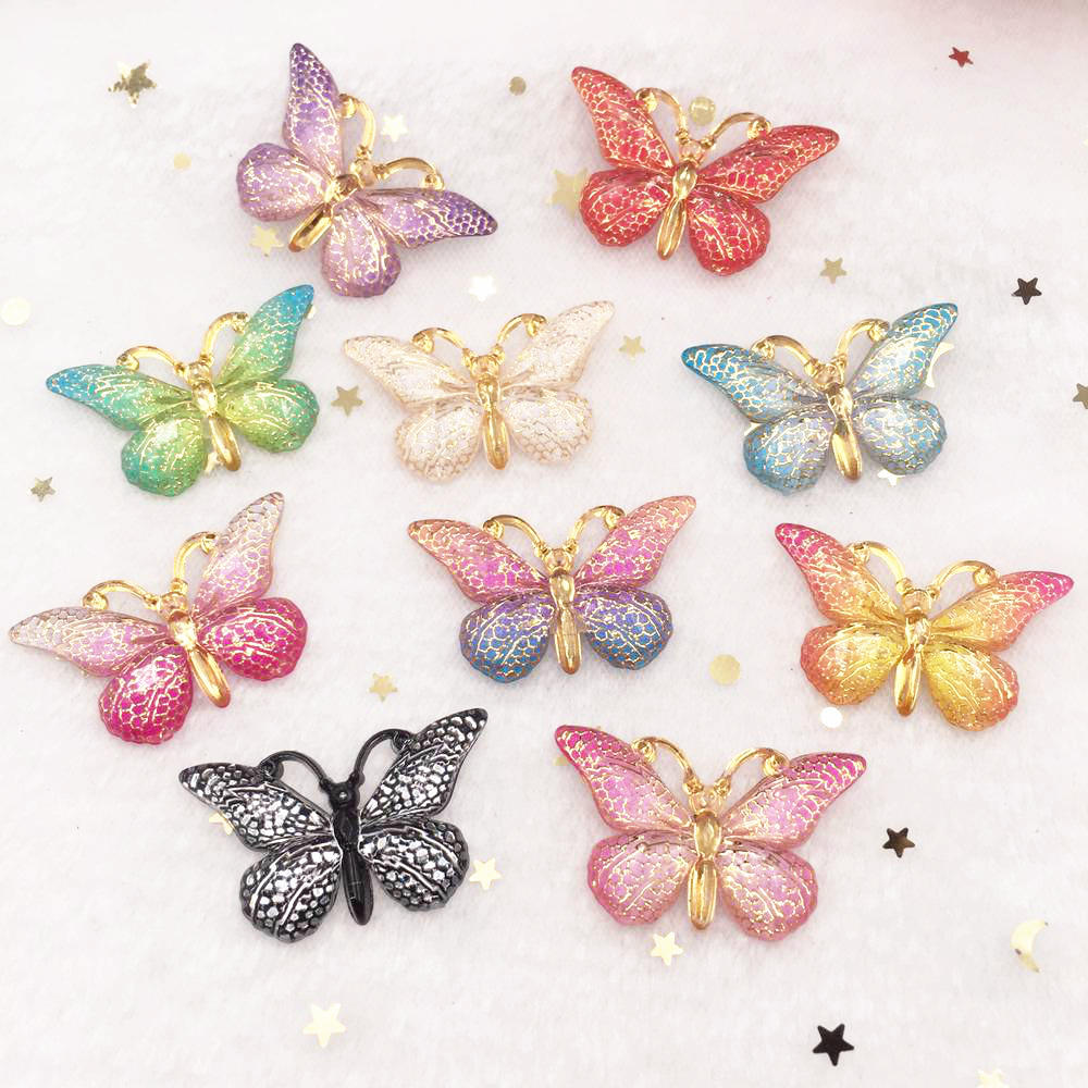 New 10pcs Resin Resin 25*38mm Bling Colorful Butterflies Flatback Rhinestone 1 Hole Ornaments DIY  Wedding Appliques Craft SW75