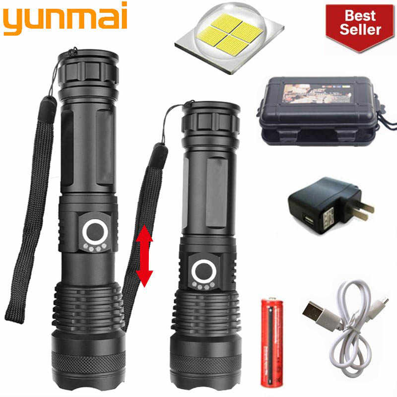 yunmai 50000 lumens XLamp xhp70.2 most powerful flashlight usb Zoom led torch xhp70 xhp50 18650 Rechargeable battery for hunting