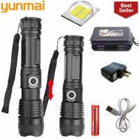 Yunmai 50000 lumen XLamp xhp70.2 mächtigsten taschenlampe usb Zoom led taschenlampe xhp70 xhp50 18650 akku für jagd