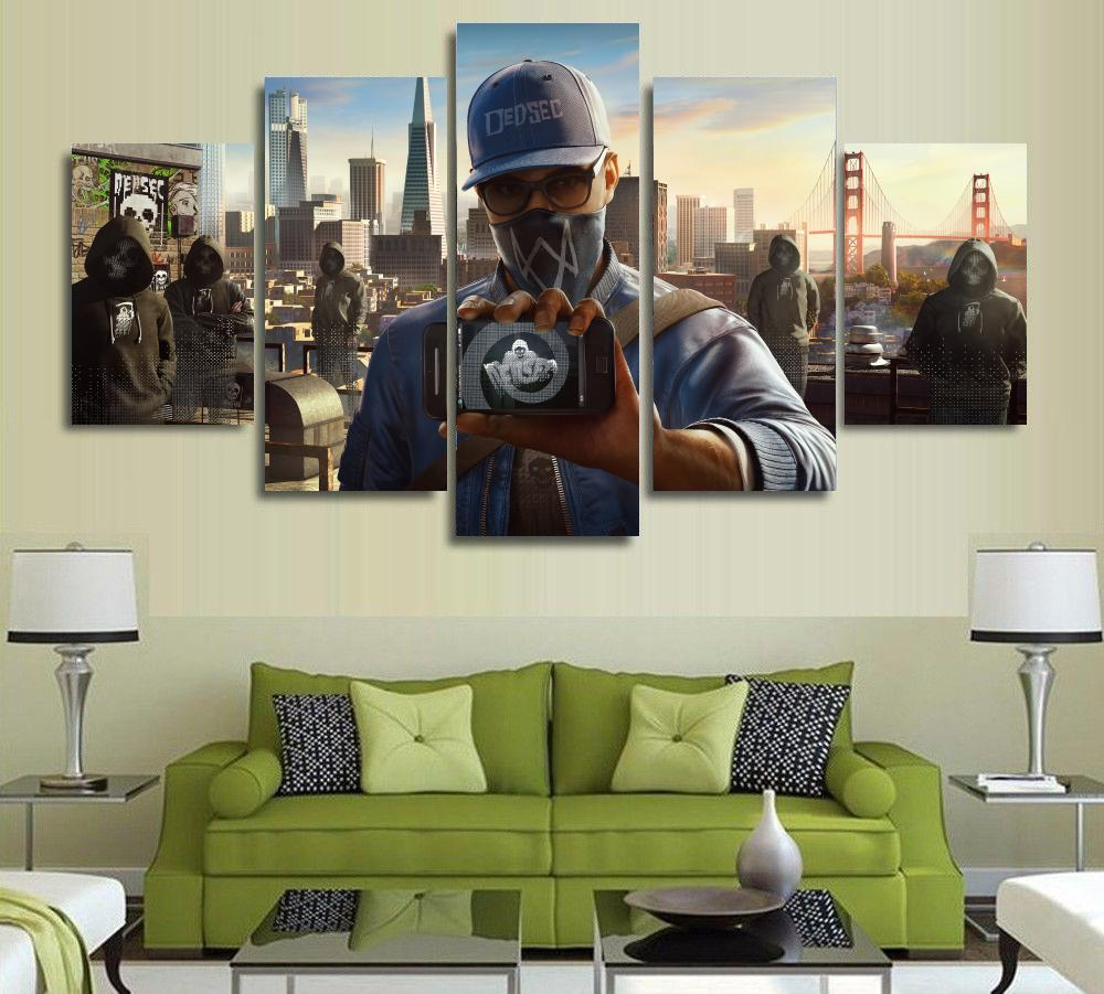 unframed canvas painting wall art game watch dogs 2 marcus canvas poster print room decoration 5 pieces in painting calligraphy from home garden on - Painting Games 2