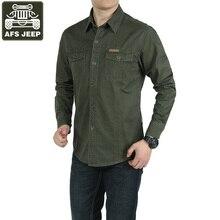 AFS JEEP Marke Langarm Shirt Männer Casual Shirts 100% Baumwolle Armee Grün Militärischen Floral Camisa Masculina Chemise Homme Hemd