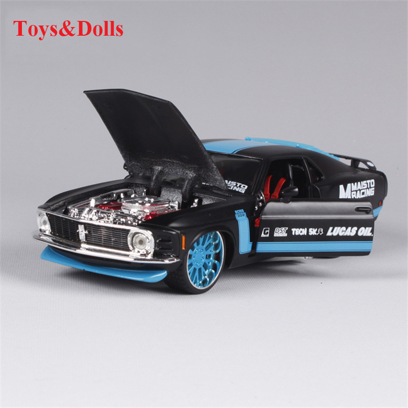 124 ford mustang boss 302 black and blue diecast model car car kids toys