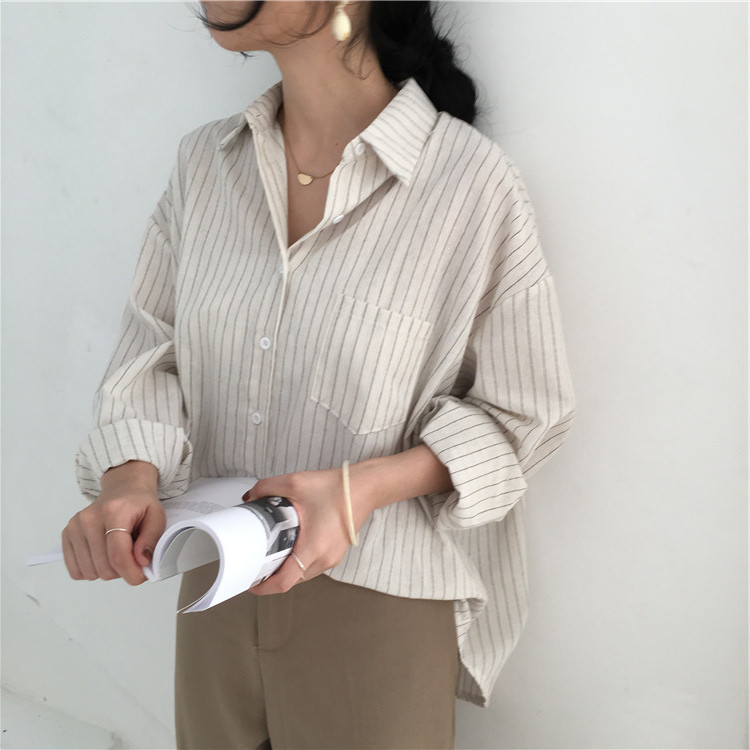 19 Mazefeng Spring Autumn Female Shirts Women Striped Shirts Office Lady Style Women Shirts Solid Fashion Long Sleeves 7