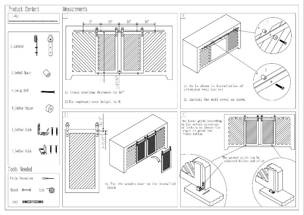 DIYHD petite grange porte matériel en bois armoire Double coulissante grange porte matériel Mini grange porte piste Kit à accrocher 2 porte - 6
