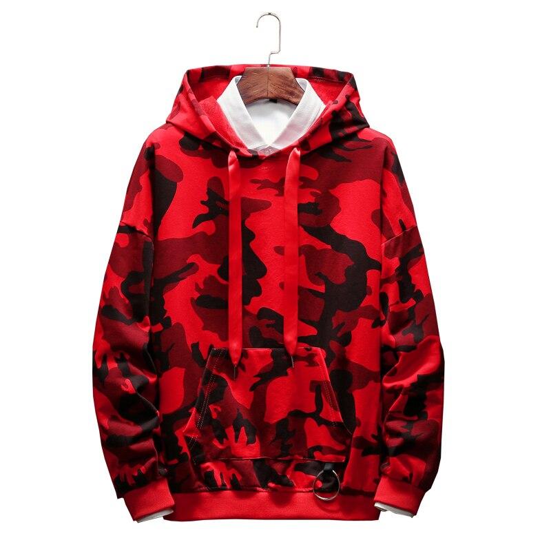 2019 nouveau sweat à capuche hommes Camouflage impression Hip Hop sweat Cool pulls à capuche pour hommes automne hiver coton pull mâle à capuche vêtements