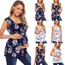Mom Summer Pregnant Nursing Tops Clothes Casual Sleeveless Breastfeeding Maternity Women Clothing