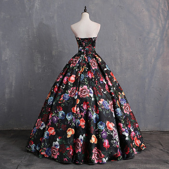 JaneVini Elegant Sweetheart Floral Prom Dress Print Pattern Satin Floor Length Dresses Women Plus Size Ball Gown Evening Dress 3