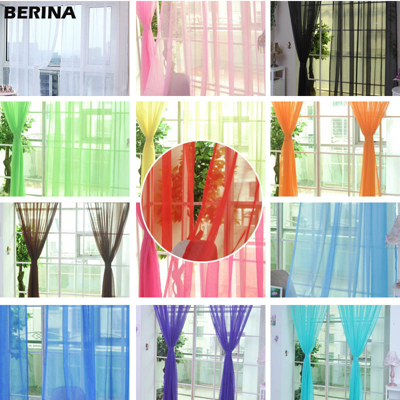 Tulle Curtains Drapes Window-Screen Living-Room Kitchen Solid for The on 14001/100x200cm title=