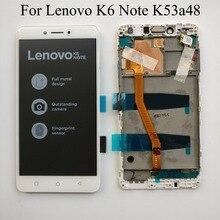 Branco/preto 5.5 polegada para lenovo k6 nota/k6 plus k53a48 display lcd completo + tela de toque digitador assembléia com quadro