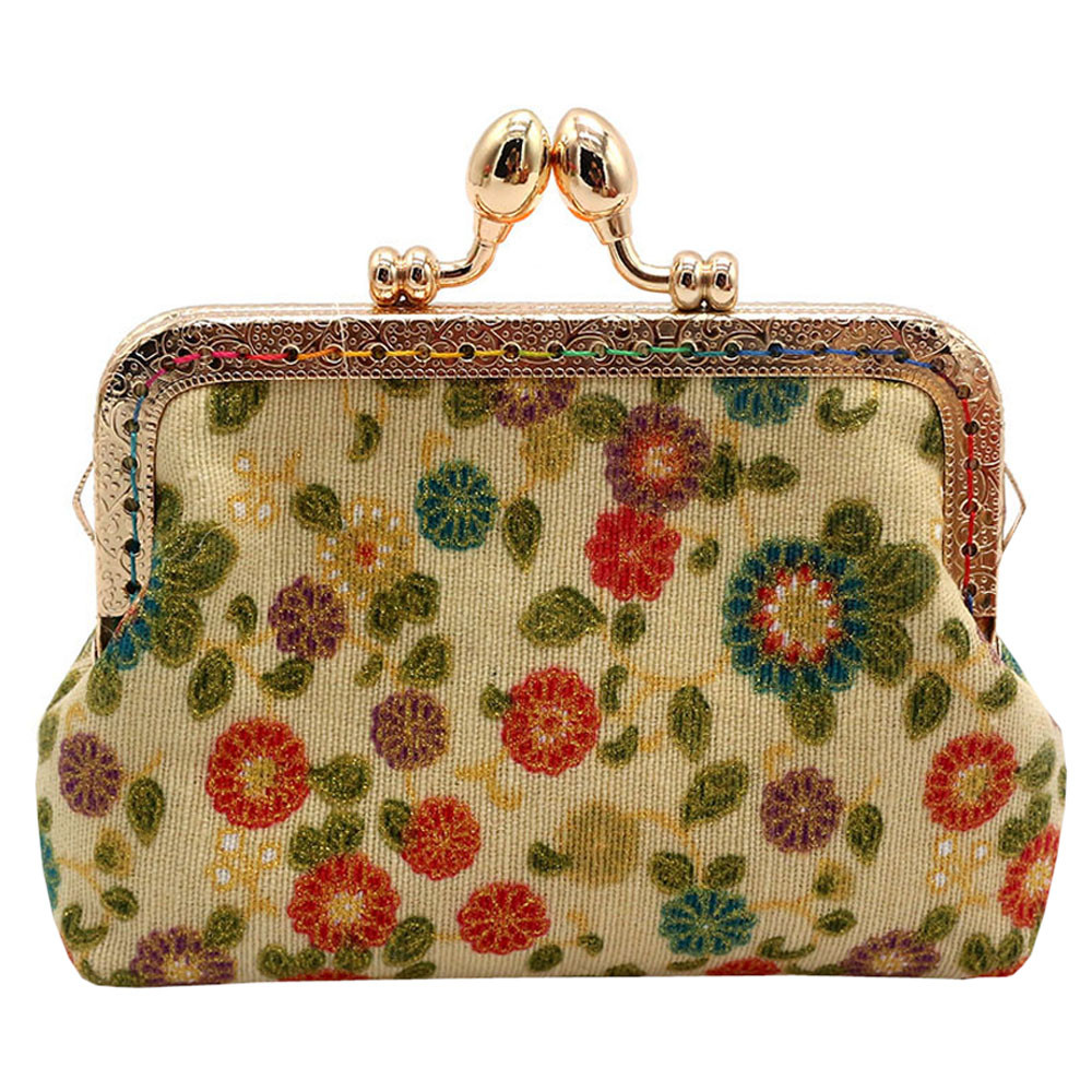 Lady Retro Vintage Flower Oxford Coin Purse Small Wallet Hasp Purse Clutch Bag ID Card Bags carteira feminina*00