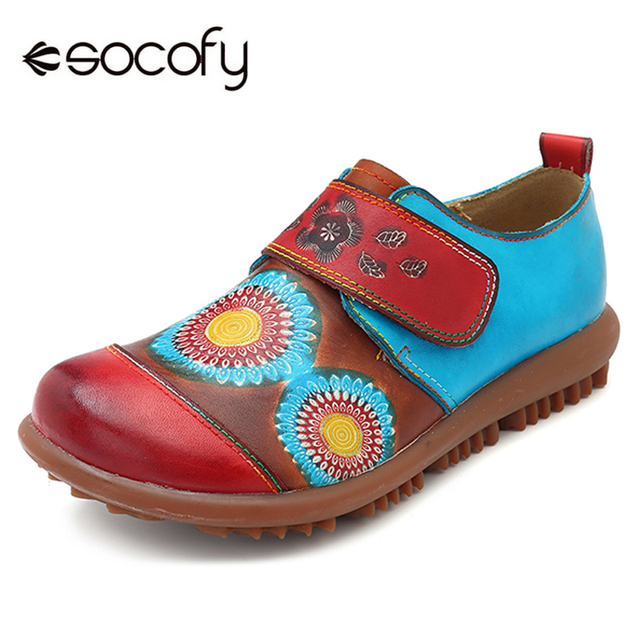 40b8b95ed33 Socofy Vintage Genuine Leather Flat Shoes Woman Hook Loop Rubber Soft Sole  Loafers Casual Shoes Woman Summer
