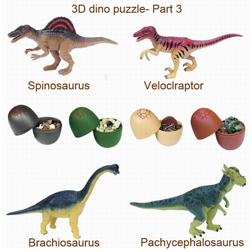 UKENN 4 pcs 3D dinosaurus puzzle 2366 s-3 puzzle plastik mainan pendidikan kit bangunan puzzle 3d