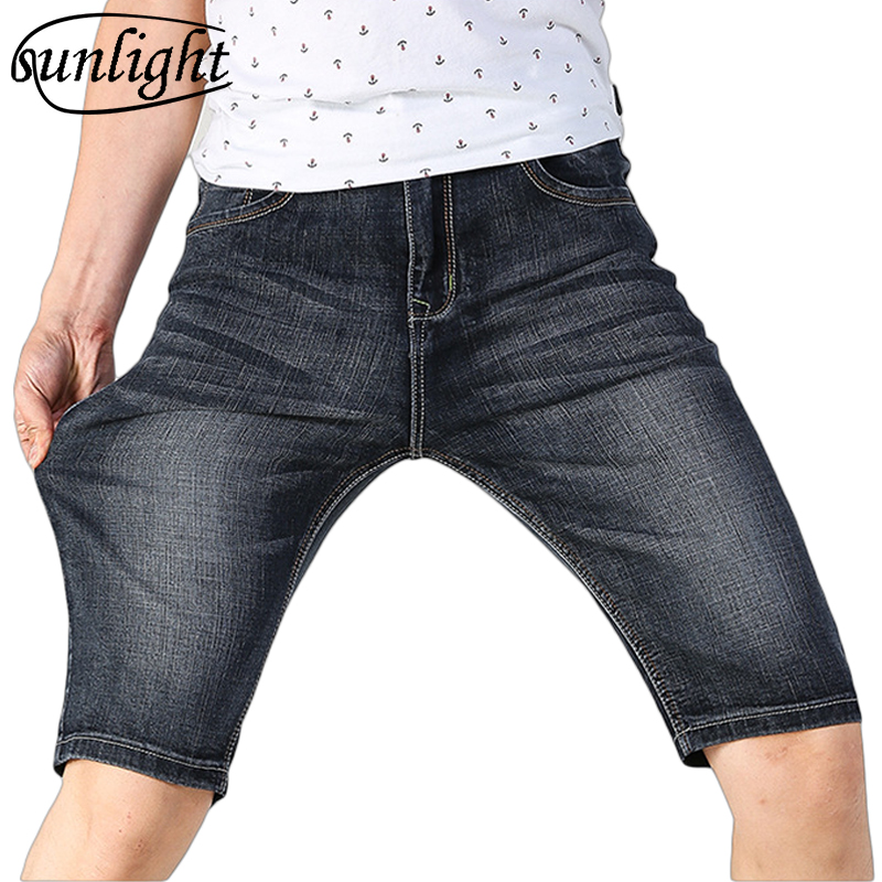 Summer New Thin Guy Fashion Super Large Hole Jeans Men's Plus 5 Yards Stretch Shorts High Elastic