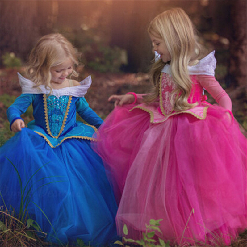 Sleeping Beauty Princess Christmas Dress noble halloween costume children 3-10y girl party dress Girls perform dresses Pre-sale sleeping beauty princess costume spring autumn girl dress 2017 pink princess aurora dresses for girls party costume free ship