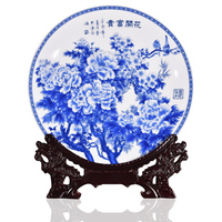 Modern Home Decor Ceramic Ornamental Plate Chinese Blue And White Flowers Decoration Plate Set Setting Wall