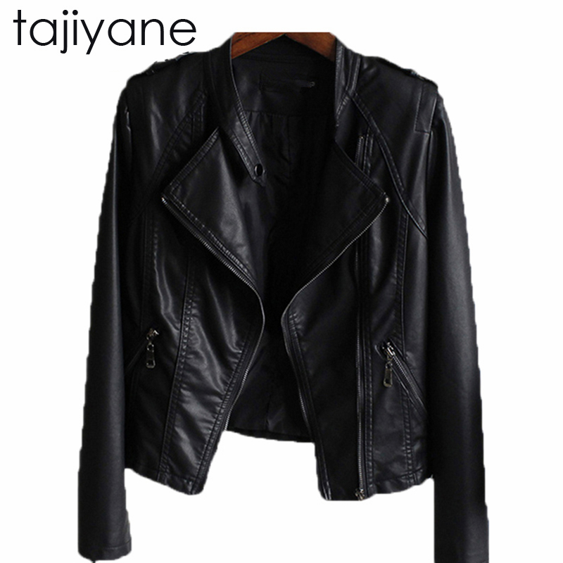 TAJIYANE 2018 New Fashion Spring And Autumn Stand Collar Cultivating Short Slim PU   Leather   Motorcycle Black Female Jacket LD041