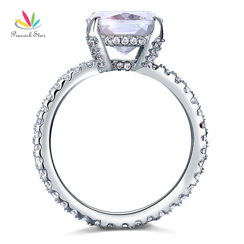 Peacock Star Solid 925 Sterling Silver Wedding Promise Engagement Ring 5 Carat Cushion Cut Jewelry CFR8092