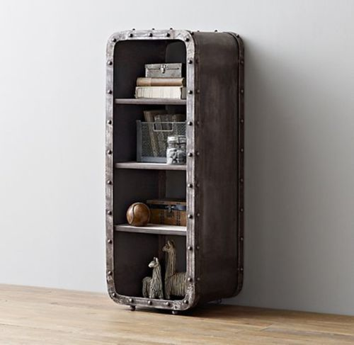 Loft Industrial Iron Locker 4-Layer Bookcase Living Room Storage Cabinet Bedroom Open Cabinet/Bedside/Bucket Cabinet